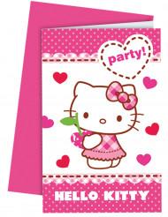 6 Tarjetas de invitación con sobres Hello Kitty™