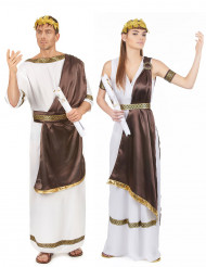 Disfraz de pareja romana marrón adulto
