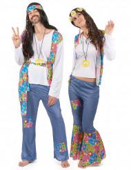 Disfraz de pareja hippie azul adulto