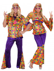 Disfraz de pareja hippie flores adulto