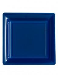 12 Platos cuadrados azul marino 23,5 cm