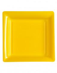 12 Platos amarillos cuadrados de plástico 23,5 cm