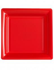 12 Platos cuadrados rojos 23,5 cm