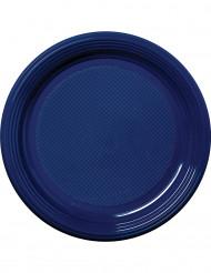 30 Platos de plástico azul marino 22 cm