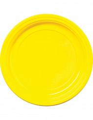 30 Platos amarillos de plástico 22 cm