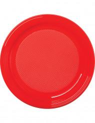 30 Platos rojos de plástico 22 cm