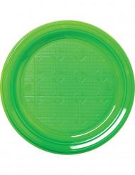 30 Platos verdes de plástico 22 cm