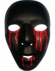 Máscara negra con lágrimas rojas hombre Halloween