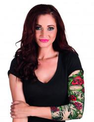 Mangas tatuajes rosas mujer
