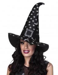 Sombrero de bruja estrellas plateadas mujer Halloween