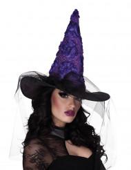 Sombrero de bruja negro y violeta mujer Halloween