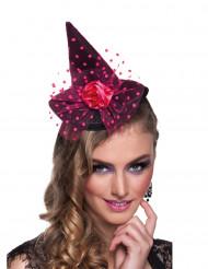 Mini sombrero bruja chic rosa mujer Halloween