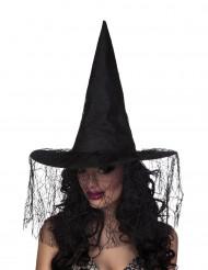 Sombrero de bruja negro con velo araña mujer Halloween