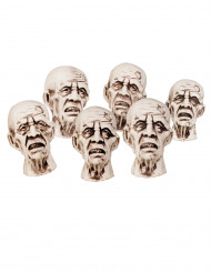 Decoración cabezas de zombie 8x5 cm Halloween