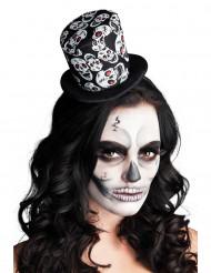 Mini sombrero de copa esqueleto mujer Halloween