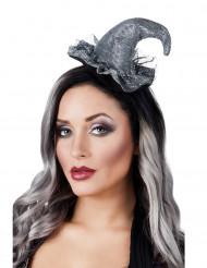 Mini sombrero bruja plateado mujer Halloween