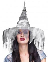 Sombrero de bruja desgarrado blanco mujer Halloween