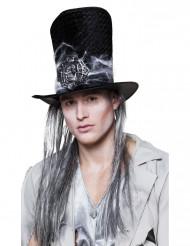 Sombrero de copa esqueleto con pelo adulto Halloween