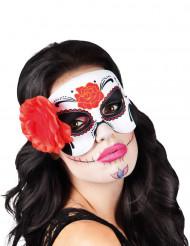 Antifaz con rosa roja mujer Día de los Muertos