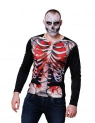 Camiseta mangas largas esqueleto sangriento hombre Halloween