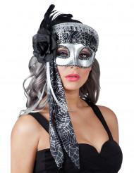 Antifaz telaraña gris mujer