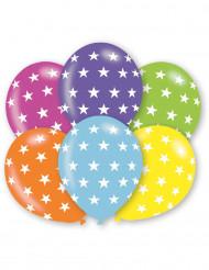 6 Globos estrellas multicolores