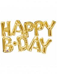 Globo aluminio letras Happy Birthday dorado
