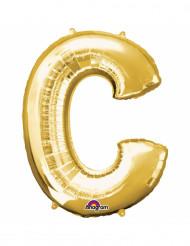 Globo letra C aluminio dorado 33 cm