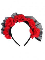 Corona rosas rojas adulto Día de los muertos