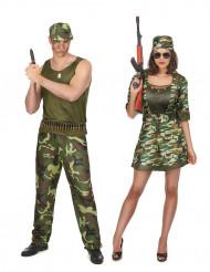 Disfraz de pareja militar adulto