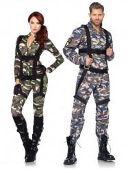 Disfraz de pareja militar deluxe adulto