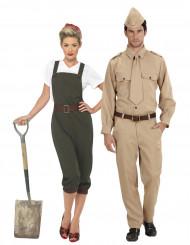 Disfraz de pareja soldado de guerra adulto