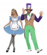 Disfraz de pareja sombrerero loco y niña de las maravillas