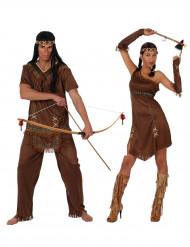 Disfraz de pareja india marrón adulto