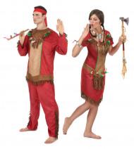 Disfraz de pareja india rojo adulto