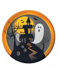 8 Platos pequeños de cartón Halloween casa encantada 22 cm