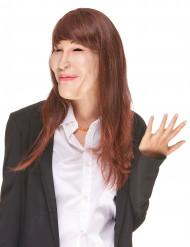 Máscara humorística de látex con peluca Carla adulto