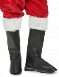 Cubre botas deluxe negros con pelo blanco adulto