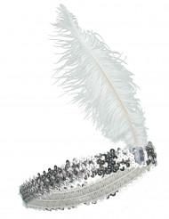Diadema charlestón lentejuelas y pluma plateadas mujer