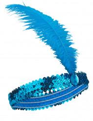 Diadema de Charlestón pluma y lentejuelas azules mujer