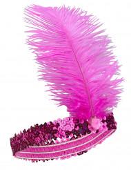 Diadema Charlestón lentejuelas y pluma rosa mujer