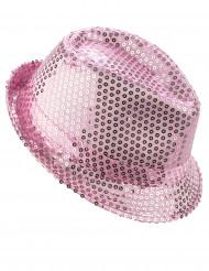 Sombrero borsalino lentejuelas rosas adulto