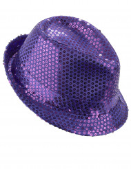 Sombrero borsalino lentejuelas violetas adulto