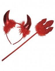 Kit accesorios diablesa rojo con plumas adulto Halloween