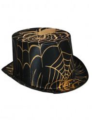 Sombrero de copa araña negro y dorado adulto Halloween