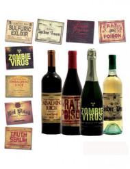 8 Pegatinas para botellas Halloween