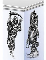 2 Decoraciones murales segadores de la muerte 150 cm Halloween