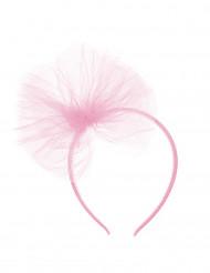 Diadema lazo de tul rosa claro niña