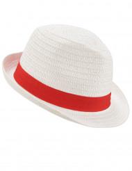 Sombrero borsalino blanco con banda roja adulto
