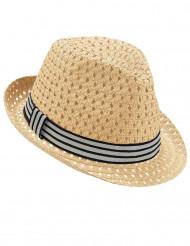 Sombrero borsalino calado con banda tricolor adulto